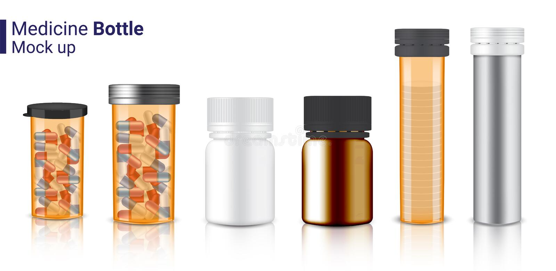 Mofa de la botella 3D encima de la medicina realista Amber Packaging transparente para la p?ldora de la c?psula y de la vitamina  ilustración del vector
