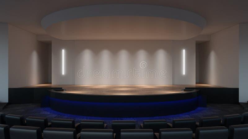 Mofa de la etapa encima de la representación 3d plantilla vacía de la pantalla de la pared ilustración del vector