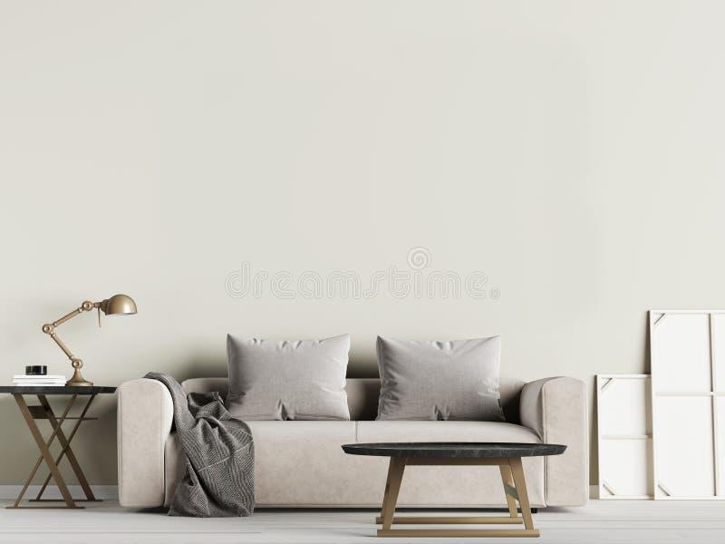 Mofa de la pared interior de la sala de estar para arriba con el sofá y las almohadas de la tela en fondo verde oliva stock de ilustración
