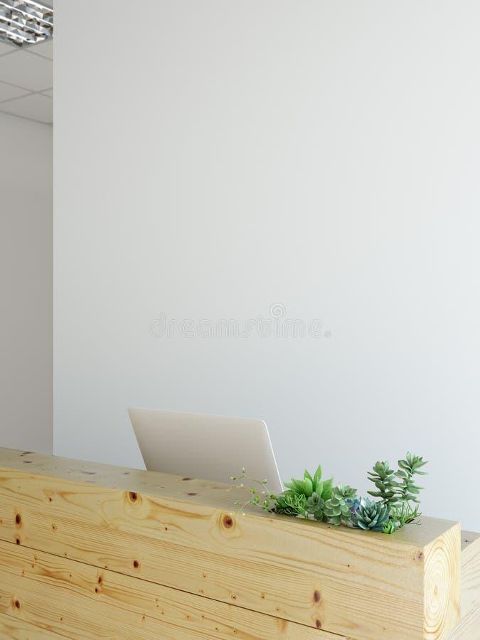 Mofa de la pared de la oficina encima del interior Arte de la pared 3D representación, ejemplo 3D stock de ilustración