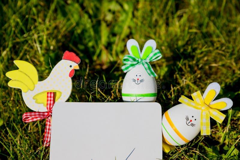 Mofa de la tarjeta de felicitación de Pascua para arriba con los huevos del conejito en fondo de la hierba verde Concepto creativ fotografía de archivo libre de regalías