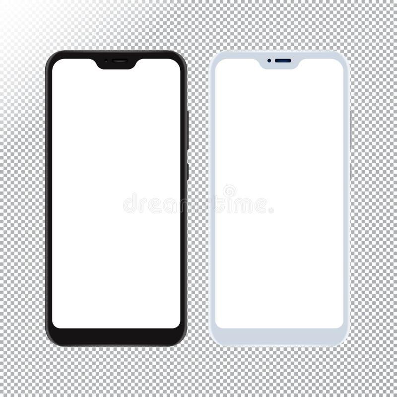 Mofa de Smartphone para arriba en fondo transparente Teléfono móvil del vector con la maqueta vacía de las pantallas para el dise stock de ilustración