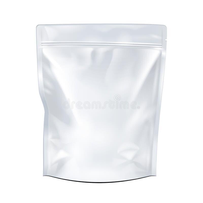 Mofa del blanco encima del empaquetado en blanco del bolso de Doypack de la comida o de la bebida de la hoja Paquete plástico lis ilustración del vector