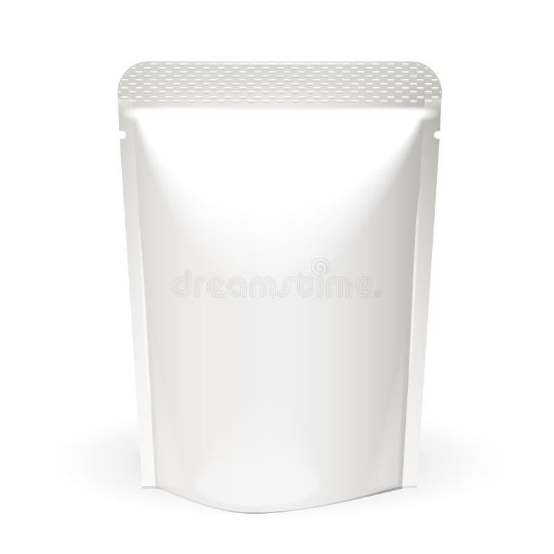 Mofa del blanco encima del empaquetado en blanco del bolso de Doypack de la comida o de la bebida de la hoja Plantilla del paquet stock de ilustración