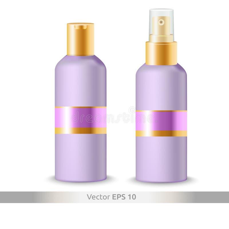 Mofa del cosmético para arriba Una colección de botellas plásticas para los cosméticos - el primer del espray de la botella aisló foto de archivo libre de regalías