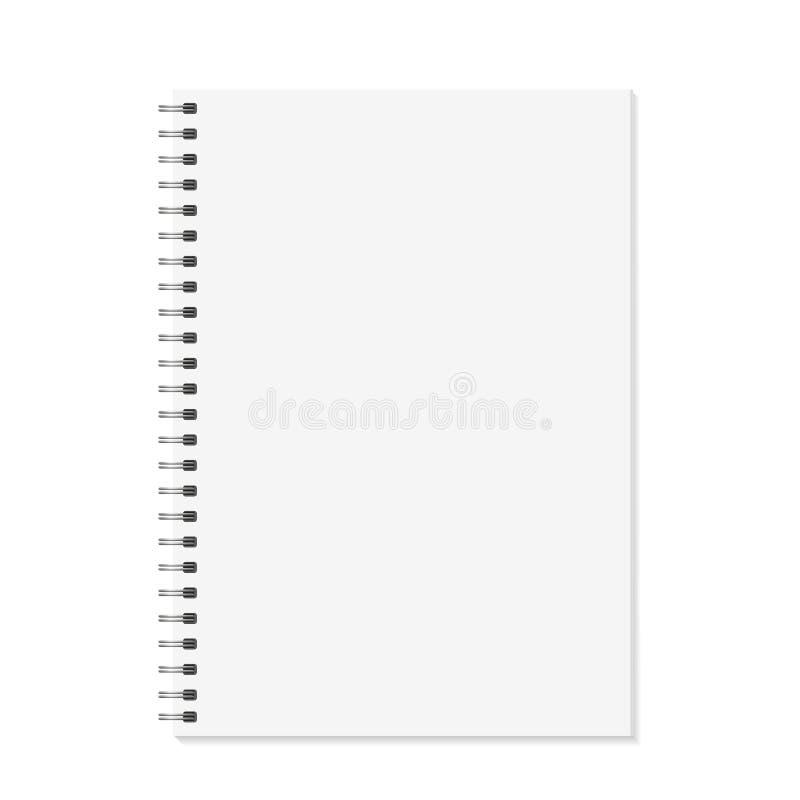 Mofa del cuaderno para arriba Abra el libro con la plantilla del espiral del metal Aislado en el fondo blanco Páginas encuadernad stock de ilustración