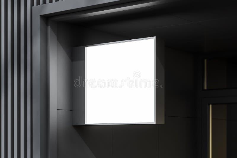 Mofa del cuadrado encima del cartel en la pared constructiva gris libre illustration