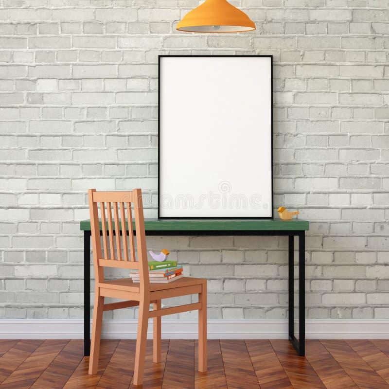 Mofa del espacio de trabajo encima del cartel foto de archivo libre de regalías