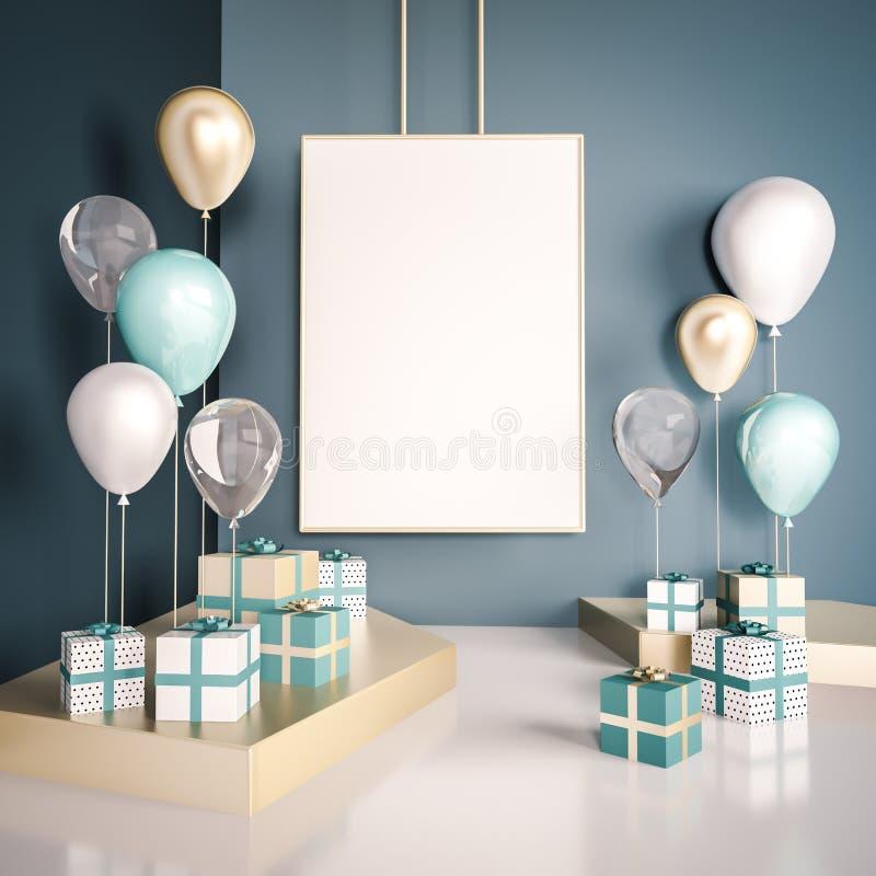 Mofa del interior encima de la escena con las cajas y los globos de regalo del azul y del oro 3d brillante realista se opone para stock de ilustración