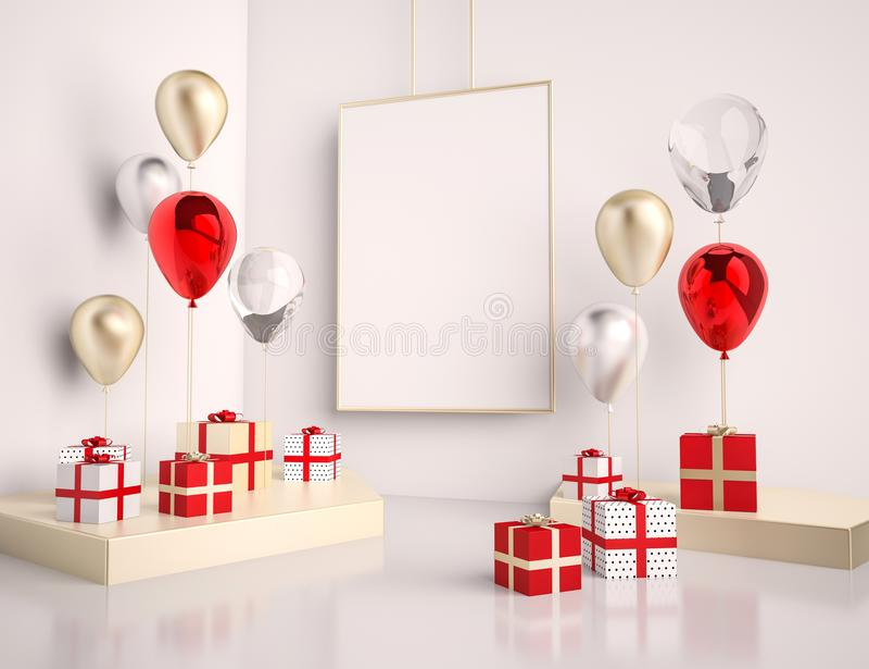 Mofa del interior encima de la escena con rojo y cajas y globos de regalo del oro 3d brillante realista se opone para los cartele ilustración del vector