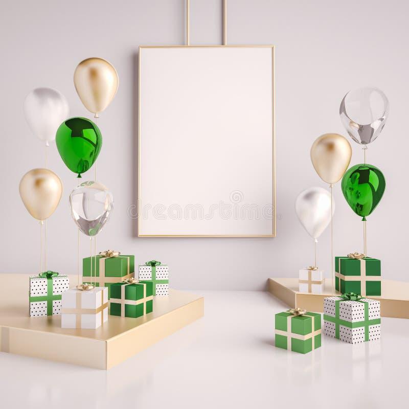 Mofa del interior encima de la escena con verde y cajas y globos de regalo del oro 3d brillante realista se opone para la fiesta  stock de ilustración