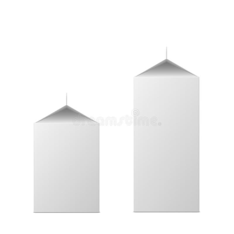 Mofa del vector 3d para arriba de la caja de la leche o del jugo en el fondo blanco libre illustration