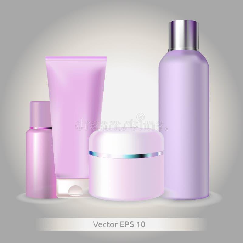 Mofa del vector encima de los equipos cosméticos - botellas plásticas y primer plástico de los tarros imagen de archivo
