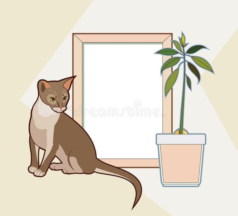 Mofa del vector encima del marco de madera, del gato abisinio que se sienta y de la planta del aguacate Maqueta casera interior d stock de ilustración