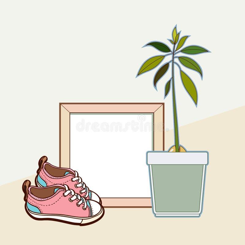 Mofa del vector encima del marco de madera, de las zapatillas de deporte y de la planta del aguacate Maqueta cuadrada casera inte libre illustration
