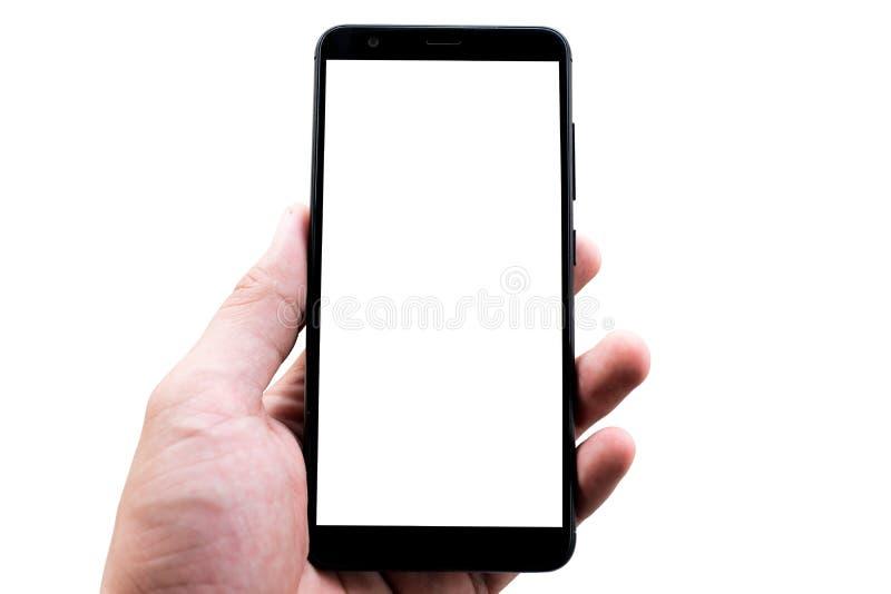 Mofa elegante móvil negra del teléfono para arriba en el fondo blanco foto de archivo