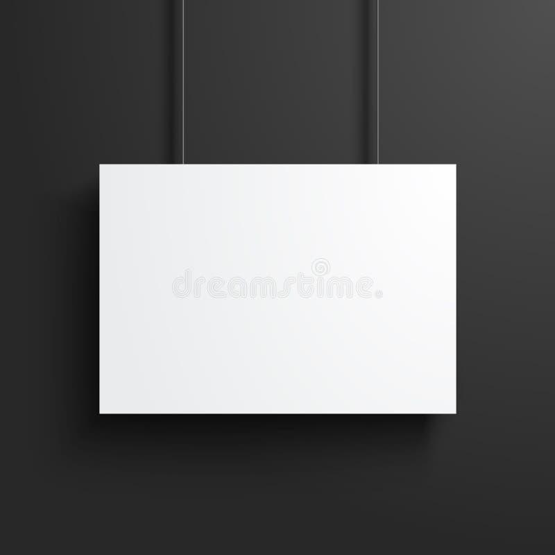Mofa en blanco blanca del marco del cartel del ejemplo del vector para arriba en fondo negro oscuro libre illustration