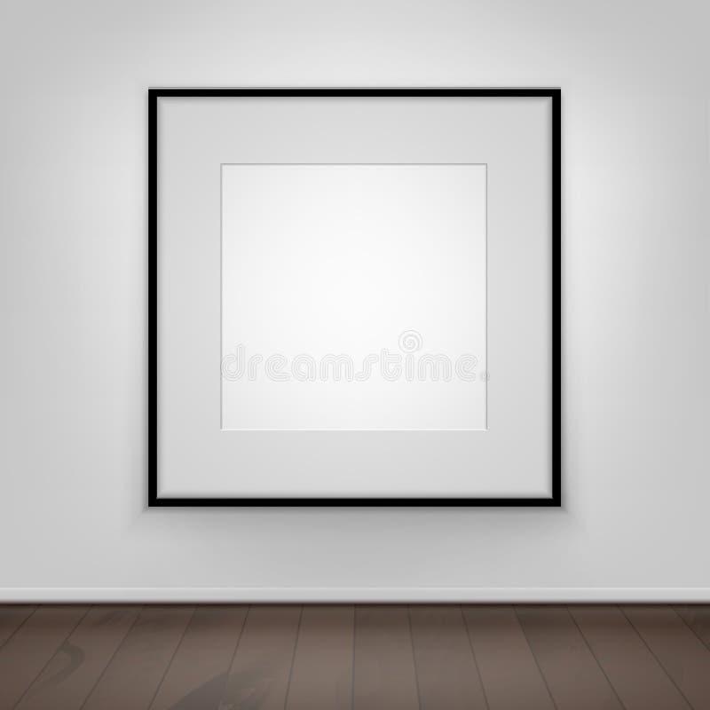 Mofa en blanco del blanco del vector encima del marco del negro de imagen del cartel en la pared con el piso de madera Front View stock de ilustración