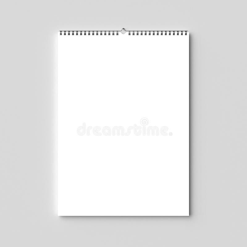Mofa en blanco del calendario de pared del atascamiento espiral para arriba en la pared seca illus 3d foto de archivo libre de regalías