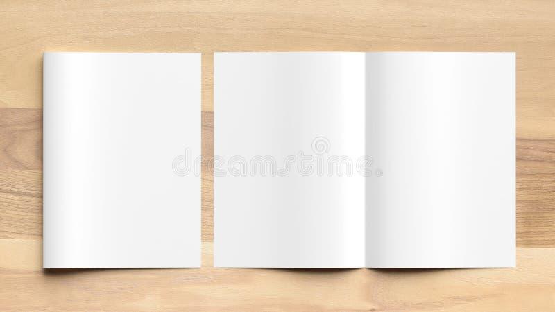 Mofa en blanco del folleto del tamaño del doblez A4 del BI para arriba en fondo de madera 3d imagenes de archivo