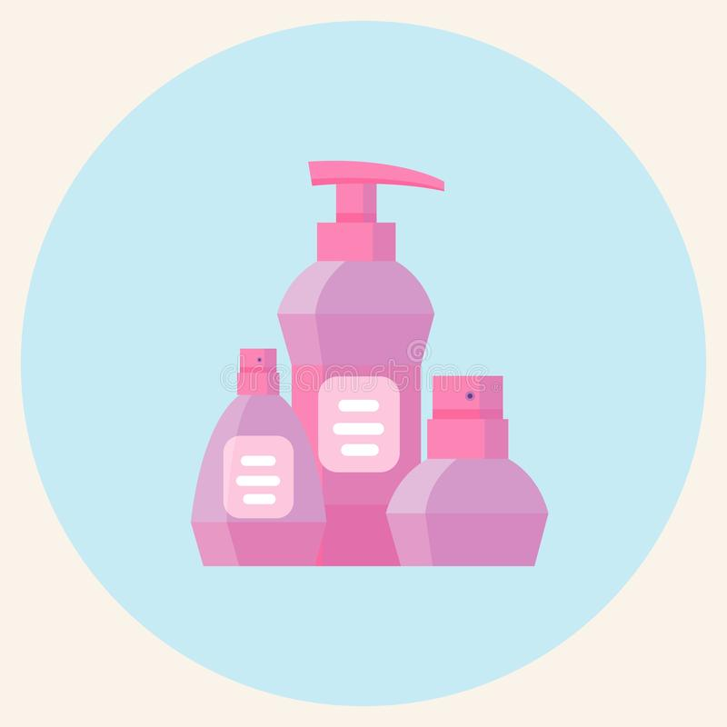 Mofa encima de la belleza plástica de Rose Packaging Product For Cosmetic, del perfume o del fondo aislado botella de agua stock de ilustración