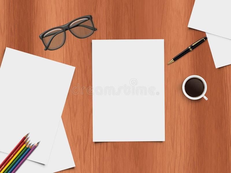 Mofa encima de la escena - visión de escritorio - ejemplo realista del escritorio con los artículos de la oficina libre illustration