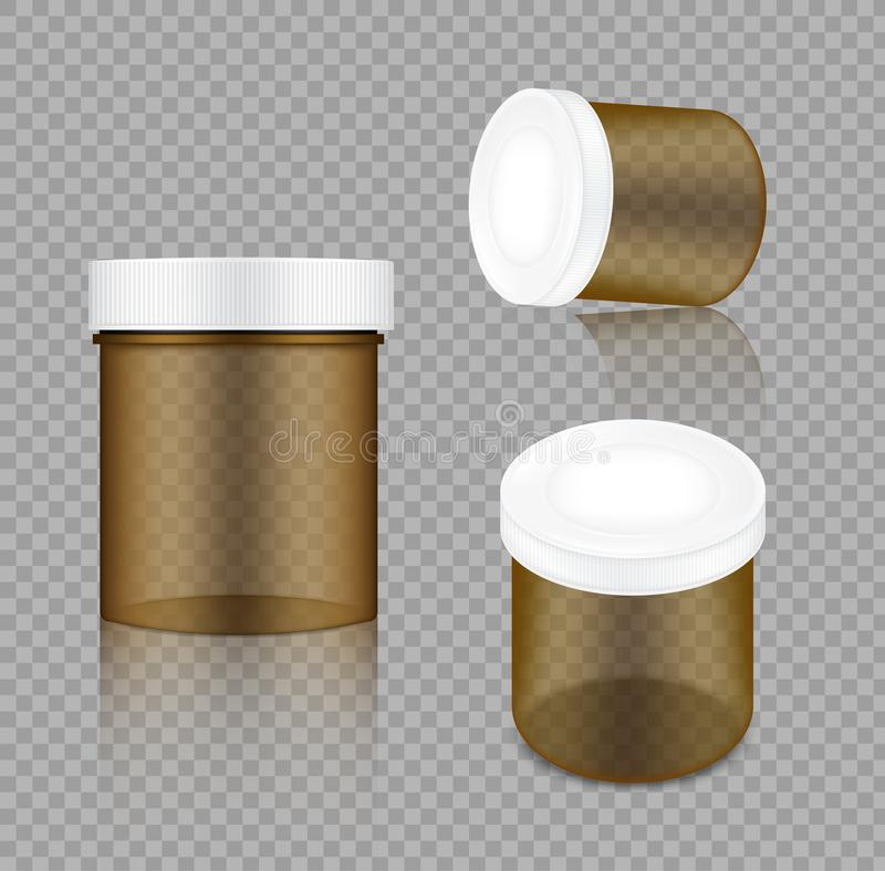 Mofa encima de la medicina cosmética transparente realista de la belleza y de la atención sanitaria de Amber Jar Packaging Produc stock de ilustración