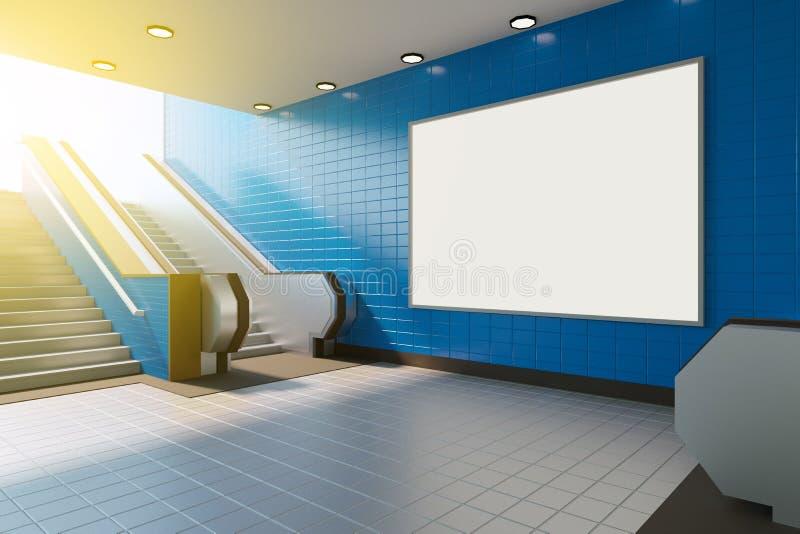 Mofa encima de la medios exhibición de los anuncios de la plantilla del cartel en escalera móvil de la estación de metro represen stock de ilustración