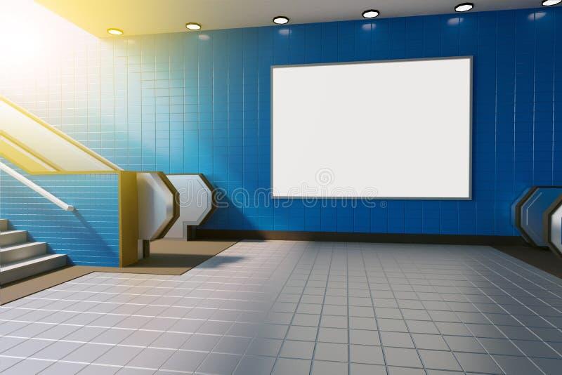 Mofa encima de la medios exhibición de los anuncios de la plantilla del cartel en escalera móvil de la estación de metro represen ilustración del vector