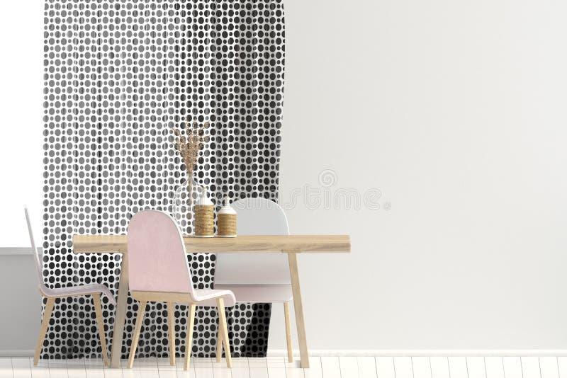 Mofa encima de la pared en interior con comedor ilustraci?n 3D stock de ilustración