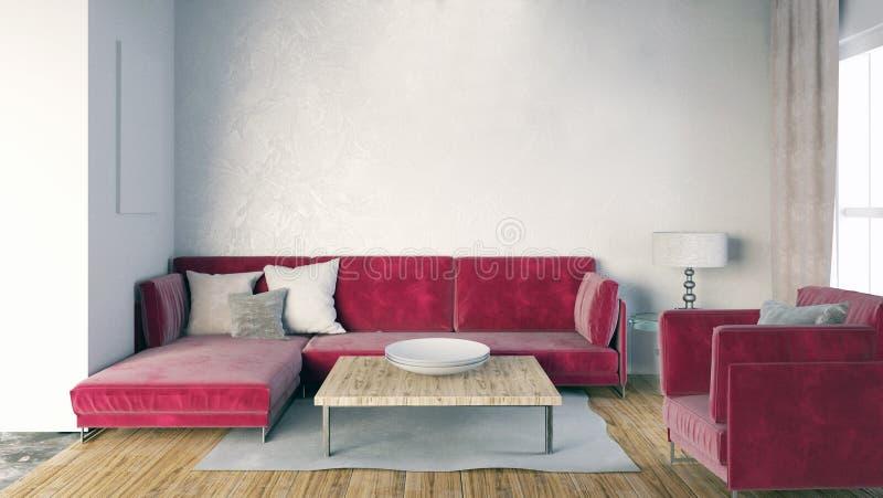 Mofa encima de la pared en interior con el sofá Estilo moderno de la sala de estar libre illustration