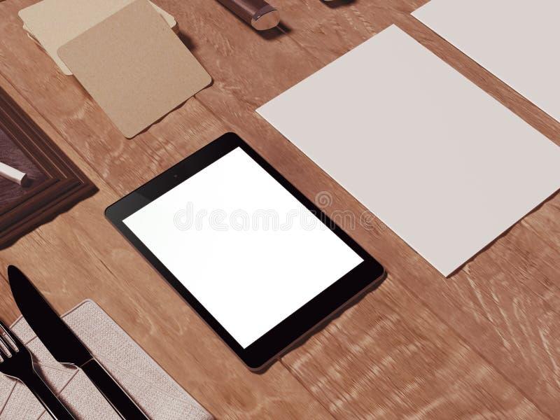 Mofa encima de la plantilla con el utensilio de cocinar imagenes de archivo