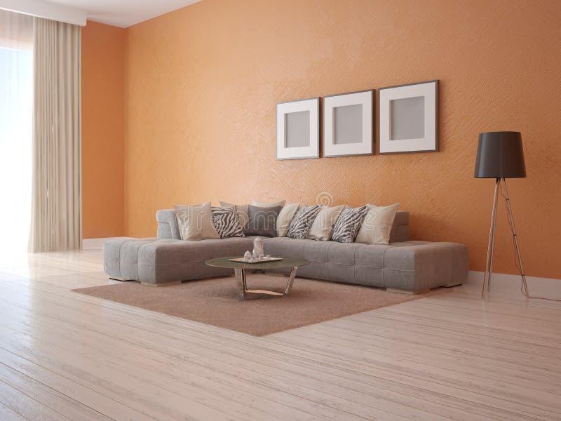Mofa encima de la sala de estar de moda del cartel ilustración del vector