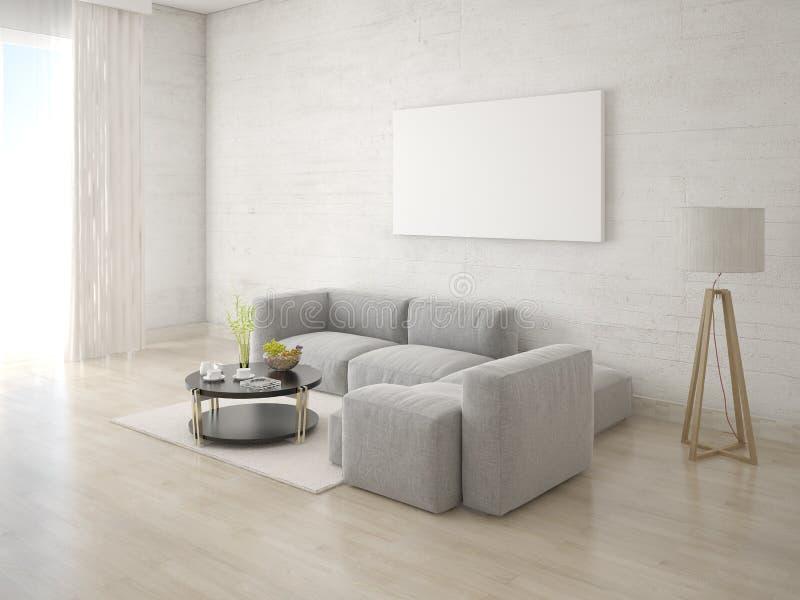Mofa encima de la sala de estar del cartel con el sofá de la esquina libre illustration