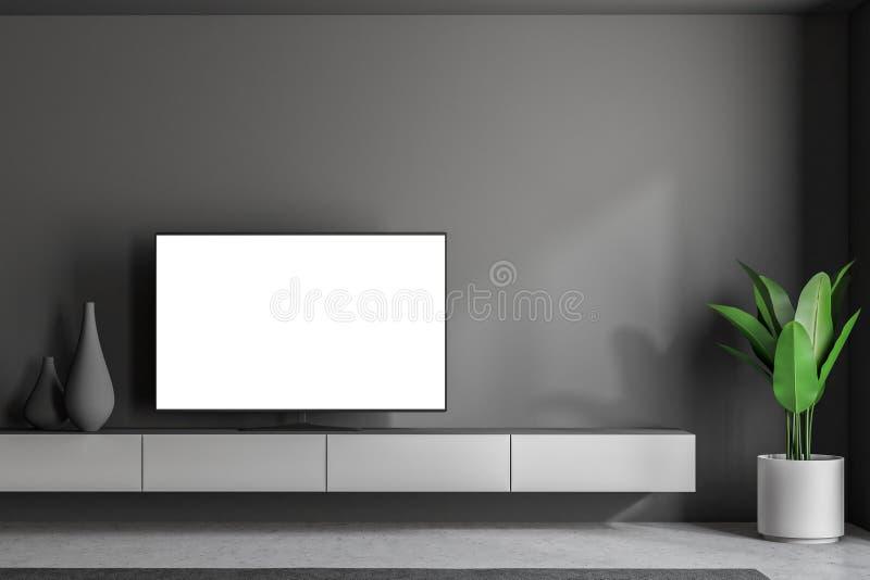 Mofa encima de la sala de estar del gris de la pantalla del aparato de TV ilustración del vector
