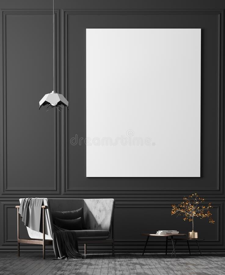 Mofa encima de marcos del cartel en el estilo escandinavo interior con el arcmhair Dise?o interior minimalista ilustraci?n 3D ilustración del vector