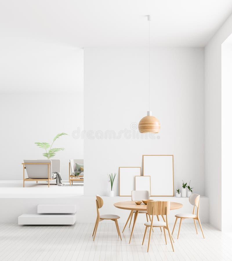 Mofa encima de marcos del cartel en interior escandinavo del comedor del estilo Dise?o minimalista del comedor ilustraci?n 3D ilustración del vector