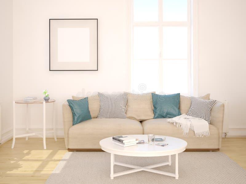 Mofa encima de una sala de estar en estilo escandinavo ilustración del vector