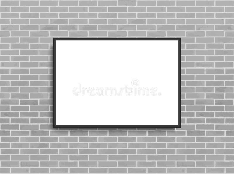 Mofa encima del cartel con el fondo del interior del desv?n Cap?tulo en la pared Maqueta de Photoframe Pared de ladrillo Plantill libre illustration