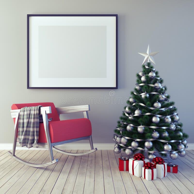 Mofa encima del cartel, decoración de la Navidad, Año Nuevo, 3d rendir ilustración del vector