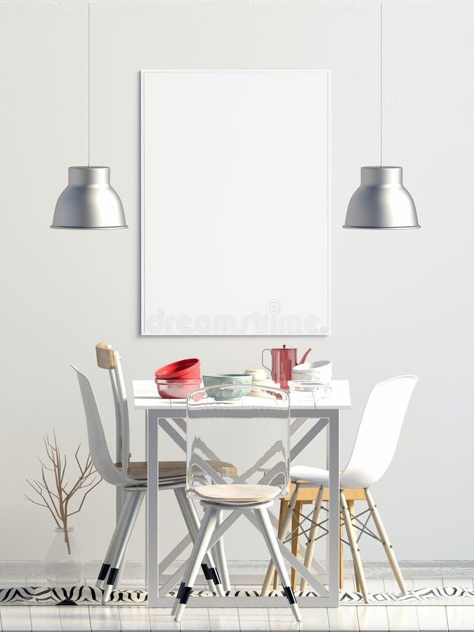 Mofa encima del cartel en interior con comedor Sala de estar moderna libre illustration