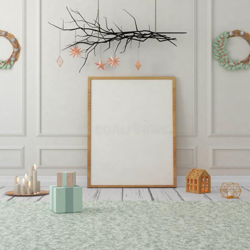 Mofa encima del cartel en interior de la Navidad ilustración 3D 3d rinden fotos de archivo libres de regalías