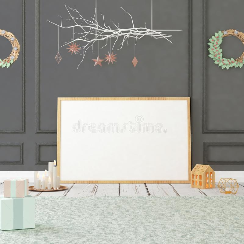 Mofa encima del cartel en interior de la Navidad ilustración 3D 3d rinden imagen de archivo libre de regalías