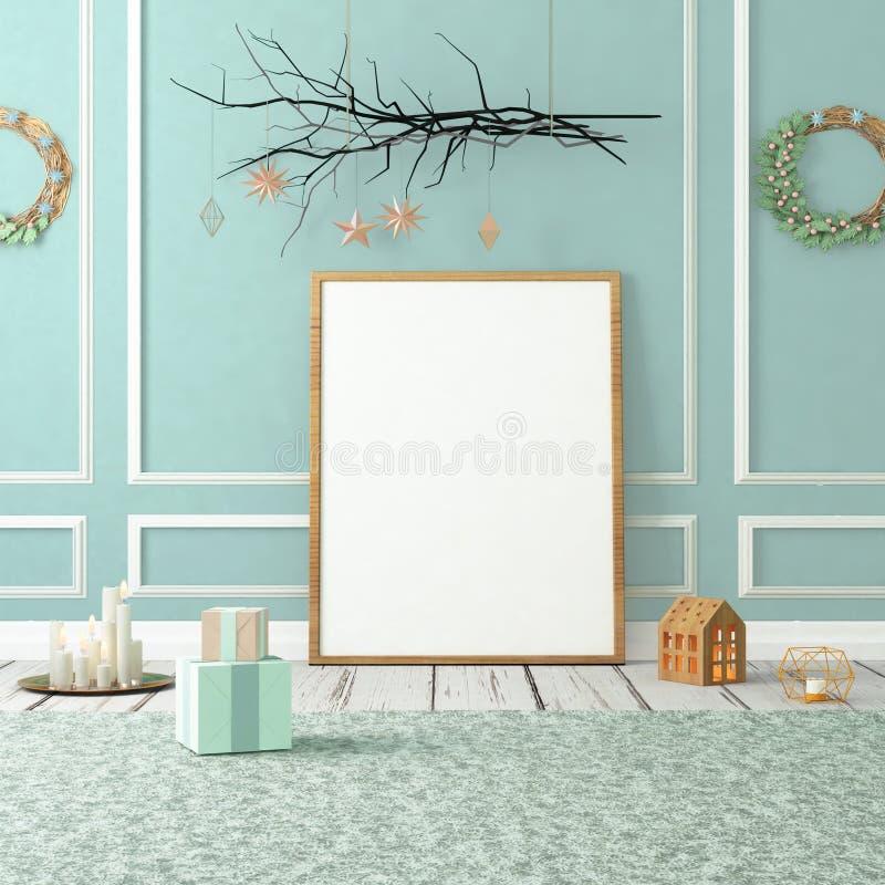 Mofa encima del cartel en interior de la Navidad ilustración 3D 3d rinden imagenes de archivo