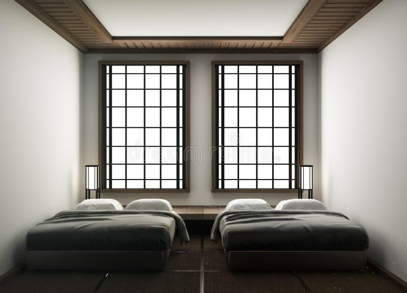 Mofa encima del estilo japonés del diseño-dormitorio interior japonés de la habitación representaci?n 3d stock de ilustración