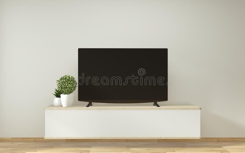 Mofa encima del gabinete de la TV y exhibición con diseño mínimo del sitio y estilo japonés del decoraion representaci?n 3d stock de ilustración