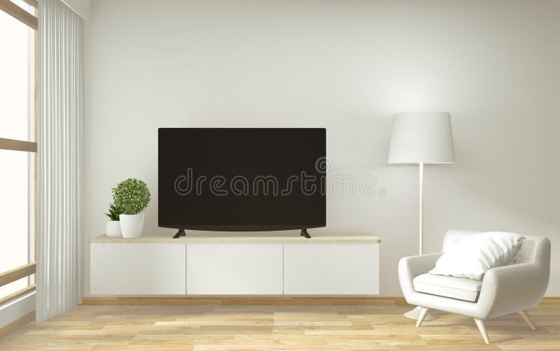 Mofa encima del gabinete de la TV y exhibición con diseño mínimo del sitio y estilo japonés del decoraion representaci?n 3d libre illustration