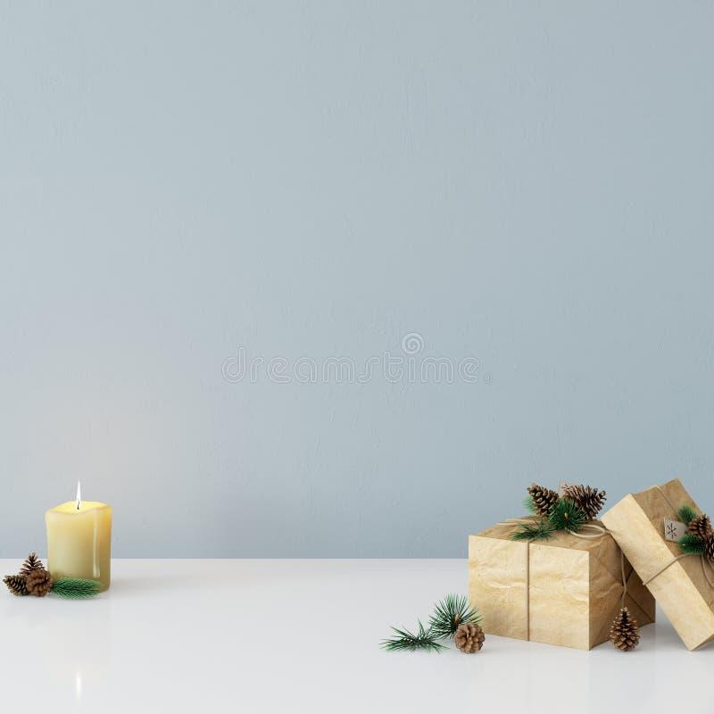 Mofa encima del interior de la Navidad de la pared Estilo escandinavo Arte de la pared 3D representación, ejemplo 3D ilustración del vector