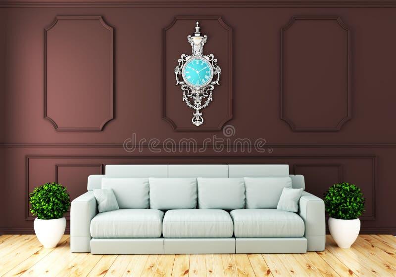 Mofa encima del interior de lujo vacío del sitio con el sofá en pared marrón del sitio en piso de madera representaci?n 3d ilustración del vector