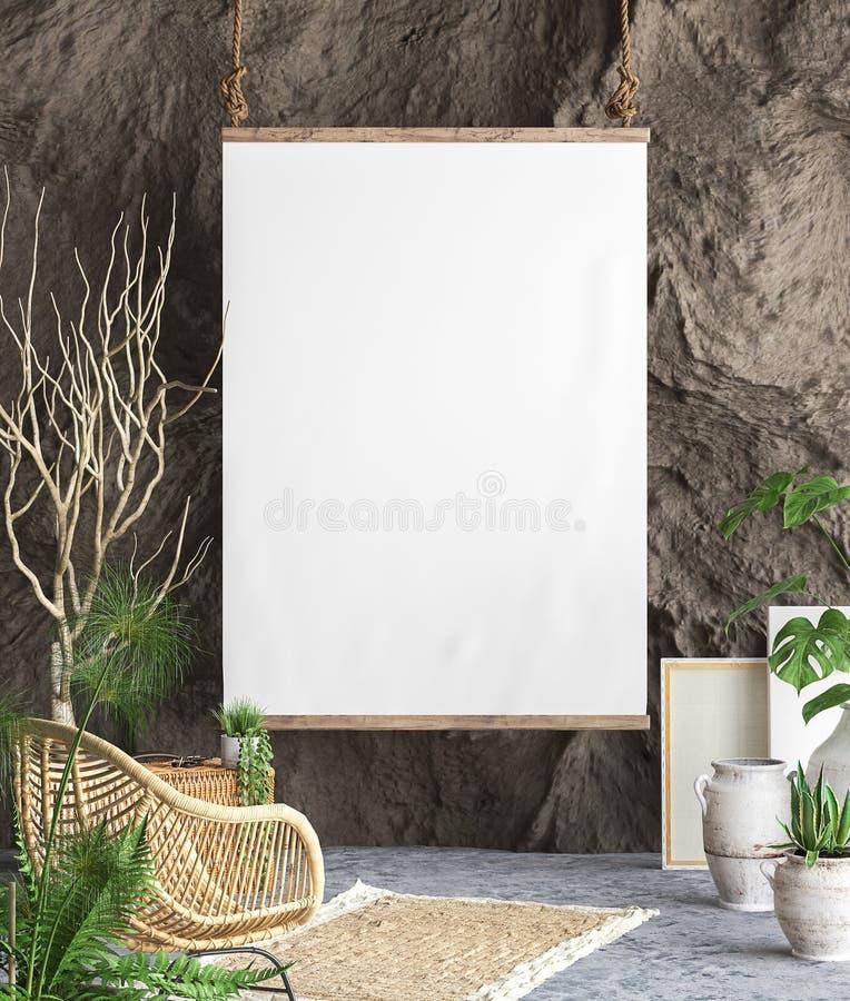 Mofa encima del marco del cartel en fondo interior stock de ilustración